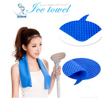 Wholesale Hands Towels - 100pcs 80*16CM ICE COOL TOWEL SPORTS COOLING TOWEL 2 colors Cold Towel Exercise Sweat Summer Ice Towel
