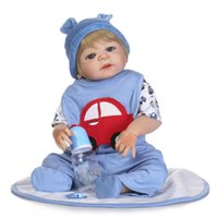 Wholesale Baby Full Month Gift - Wholesale- 55cm Victoria Full Body Silicone Reborn Baby Doll Toy Lifelike Newborn Vinyl Toddler Boy Babies For Kid Brithday Gift Bathe Toy