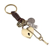 Wholesale Wholesale Heart Shaped Locks - Factory outlets Lovers Key Rings Retro heart-shaped lock leather keychain alloy Key fob leather key chain Couples jewelry