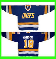 Wholesale connor costume - Mens 2016 #18 Jeff HANSON brothers SLAPSHOT movie Charlestown CHIEFS Hockey - Blue Halloween Costume Custom Any Number NO.Sewn On (S-6XL)