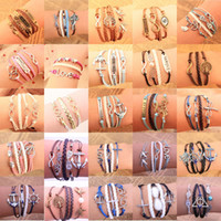 Wholesale Number 25 Charms - 20pcs 25 Designs Leather Bracelet Antique Cross Anchor Love Peach Heart Owl Bird Believe Pearl Knitting Bronze Charm Bracelets