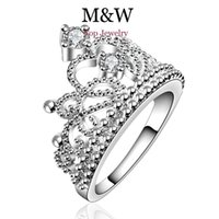 Wholesale Crown Rings For Girls - New Arrival Fashion Jewelry AAA Top Grade Cubic Zirconia Diamond 925 Silver Crown Ring For Women Girl Party Gift SL060