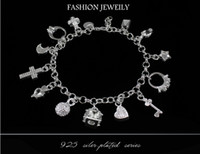 Wholesale Cheap Best Silver Chains - Best gift cheap hot 925 Sterling Silver CZ Crystal gemstone fashion jewelry cross moon charms silver women bracelet