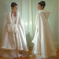 Wholesale faux fur stole ivory - Cheap Bridal Popular Cloak Jacket Long Cape Tippet Stole Shawl Coat Bolero Satin Fabric Custom Made With Faux Fur Chapel Train White