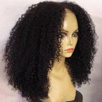 Wholesale best curly human hair wigs resale online - Best natural looking afro kinky curly denstiy brazilian hair lace front wig full natural human hair wigs for black women inch