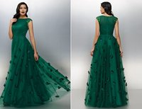 Wholesale Chinese Wear For Women - Vintage Dark Green Long Evening Dresses New 2016 Designers Long Flowers Beading A Line Tulle Chinese Cheap Occasion Prom Dress For Women