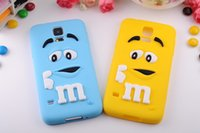 Wholesale Silicon Bean Case - Wholesale-High quality free shipping 3D cute bean mm rainbow silicon case for Samsung Galaxy S5 i9600 original back cover