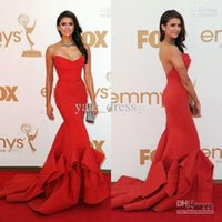 Wholesale Evening Dresses Factory Sale - OEM Factory Price Emmy Awards Evening Dress On Sale Sexy Red Nina Dobrev strapless Formal Evening Dress sweetheart Celebrity Dresses