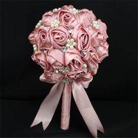 Wholesale Artificial Flower Brooches - 2016 Bridal Wedding Bouquet Rose Flower Bridal Handmade Wedding Bouquet Brooch Crystal Silk Pearls Decorate Silk Artificial Wedding Bouquets