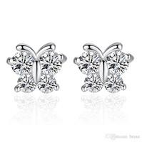 boucles d'oreilles clignotantes achat en gros de-Femelle blanc champignon bijoux dames papillon rêve coréen super flash zircon boucles d'oreilles usine en gros peut être personnalisé