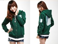 Wholesale 2 Colors Anime Attack on Titan Unisex Cosplay Green Black Hoodie Scouting Legion Hooded Jacket
