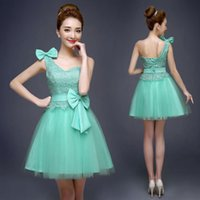 Wholesale Tull Short Dress White - High Quality Bow Applique Bridesmaid Dresses Beautiful short Light Sky Green Tull One Shoulder A-Line Forrmal Evening Gowns for Wedding