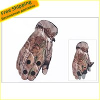 Wholesale Thermal Wear For Men - Wholesale-1 PCS Winter Size XL Bionic Camouflage three-finger warm gloves increasing thermal wear flip open gloves for men and women