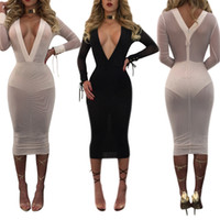 Commercio all'ingrosso- Sexy Summer Lace Up White Mesh Dress Deep V Neck manica lunga fasciatura Vedere attraverso Bodycon Women Vestidos Beach Party Dresses 2017