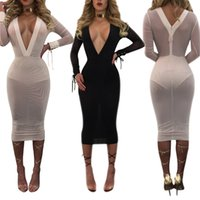 Wholesale white mesh panel dress - Wholesale- Sexy Summer Lace Up White Mesh Dress Deep V Neck Long Sleeve Bandage See Through Bodycon Women Vestidos Beach Party Dresses 2017