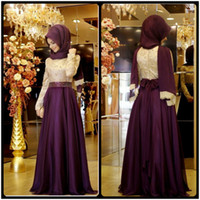 Wholesale Dubai Chiffon - 2016 Muslim Evening Dresses A-line Long Sleeves Purple Embroidery Hijab Islamic Dubai Abaya Kaftan Long Evening Gown Prom Dress