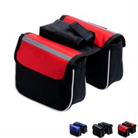 Wholesale Double Pannier Bag - 2015 Waterproof 3 Colors Double Sides Saddle Cycling MTB Bicycle Bags Sport Frame Front Tube Bike Bag For Ourdoor Cycling B055