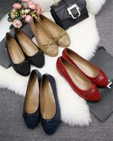 Wholesale ladies party footwear - Yuf34 4 Colors Bow Bowtie Patchwork Cowhide Genuine Leather Pumps Ballet Flats Lady Slip On Office Lady Women Footwear Dress Shoes Sz 35-41