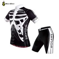 Wholesale Bicycle Jersey Design - Wholesale-2015 WOSAWE Black White Skull Cycling Gel Padded Shorts Jersey Set for Men Brand Design Bike Bicycle Sports Clothing Suit
