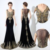 Wholesale Simple Evening Dresses Dark Purple - 2017 New Arrival Mermaid Formal Evening Dresses Sheer Neck Gold Lace Appliques Beaded Plus Size Velvet Real Photos Special Occasion Gowns