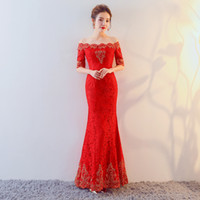 Wholesale Peacock Prom Cocktail Evening - DJ188 Free Shipping Red lace Long Cheongsams Chinese Traditional Peacock Embroidery Wedding Dress Evening Dress Qi Pao Vestidos
