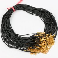 Wholesale Gold Cord Clasp - 100pcs lot 1.5mm Silver Or Gold Lobster Clasp Rubber Cord Chains 45+5cm Jewelry Findings Components DIY