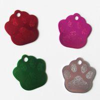 pfote hundemarken großhandel-100pcs / lot Aluminium Paw Footprint Dog ID Tags Leere Aluminium Haustier Hund Katze Identity Tags Großhandel