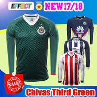 Wholesale America Long - 2017 Chivas de Guadalajara Long Sleeve Jerseys Green 3rd Soccer 17 18 Club America Monterrey Full A.PULIDO Maillot de foot football shirts