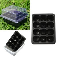 Wholesale Plastic Planting Trays Wholesale - Plastic Nursery Pots 12 Holes Plant Seedling Tray Sprout Plate Garden Tray Tool Box Black Color Wholesale