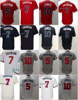 Wholesale Order Baseball Jersey Cheap - 7 Dansby Swanson Jersey New Arrvial Atlanta Jersey Mens 5 Freddie Freeman 10 Chipper Jones Baseball Jerseys Cheap Mix Order