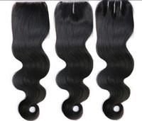 3.5 verschluss großhandel-100% brasilianisches menschliches reines Haar 3,5 * 4 Spitze Schließung Top Closure Menschenhaarverlängerungen Körperwelle natürliche Farbe DHL-freies Verschiffen