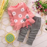 Wholesale Leopard Bow Blouse - New design Fashion Girls Flower Bow top long sleeve blouse+plaid long pants 2pcs set suit baby clothes