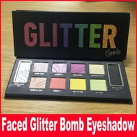 Wholesale eye shadow palett - Faced eyeshadow palett makeup GLITTER BOMB Professional 10 color Shimmer Matte Beauty makeup eye shadow diamond shinning palette