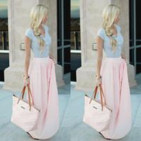 Wholesale Chiffon Khaki Skirt - 2015 Pink Long Chiffon Skirts Free Size Custom Made A-line Floor Length Women Clothing Daily Wear Cheap Skirt