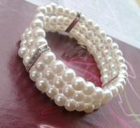 Wholesale Beaded Diamond Bracelets - Fashion female three diamond pearl bracelet elegant Diamond multi-layer stretch bracelet