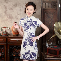Wholesale Cheongsam Vestido - Short cheongsam dress sexy party dress women qipao chinese dress chinese traditional dress cotton vestido summer new vintage style clothes