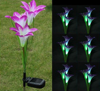 Wholesale Solar Pool Flower Lights - New Fashion Lily Solar Powered 3 LED Purple Color Flower Garden Path Light Lawn Lamp Bulb Free Shipping, dandys