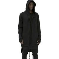 Wholesale Mens Pink Cardigan - 2017 extend Men Hooded Cloak New Brand Mens Sweatshirt Hoodie Solid Zipper Hip Hop Mens Hoodies Cloak Long Famous Brand clothing