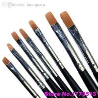 Wholesale Brush Nail Gel Products - Wholesale-7Pcs Acrylic Nail Art Pen Tips UV Builder Gel Painting Design Brush Manicure SetPopular Product 4KPT
