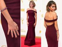 Wholesale Ribbons Awards - 2015 67th Emmy Awards Red Carpet Evening Dresses Burgundy Simple Celebrity Evening Gowns Floor Length Sheath Open Back Women Formal Dresses