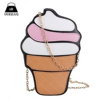 Wholesale-New Cute Women Cupcake Ice Cream Shape Crossbody Sacs Cartoon Fashion Chain PU Cuir Ladies Small Mini Shoulder Bag Féminin