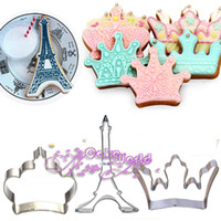 decoraciones de fondant al por mayor-Fashion Crown Tour Eiffel Acero inoxidable cortador de galletas Fondant Sugarcraft Cake Decoración Herramientas Icing Biscuit Moldes Metal Cupcake Topper