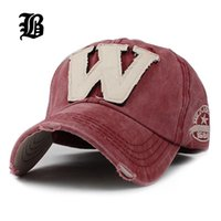 Wholesale Worn Baseball Cap - [FLB] Cotton Embroidery Letter W Baseball Cap Snapback Caps Bone casquette Hat Distressed Wearing Fitted Hat For Men Custom Hats