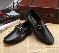 Wholesale Vintage Mans Derby - Italian Luxury Brand Vintage Genuine Leather Men Business Derby Shoes Black Brown Round toe Dress Wedding Shoes Plus Size 39-45