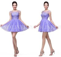 Wholesale Pink Aline Homecoming Dress - Lavender Purple Homecoming Dresses 2015 Real Picture Crystal Sequin Mini Short Cocktail Gown ALine Sheer Back Homecoming Dress