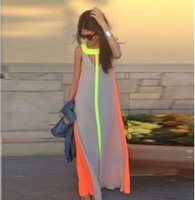 Wholesale Long Skirt Casual Cheap - 2016 Summer Casual Dresses Bright Color Patchwork Sleeveless Sundress Big Skirt Loose Long Dress Cheap Women Maxi Dresses CL00513