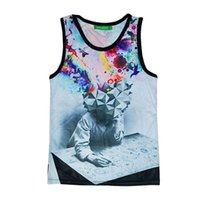 Wholesale Casual Sleeveless Tees For Men - w1208 Alisister new fashion The Thinker Printing Abstract tank tops casual 3d Sleeveless t-shirt for men women harajuku tee shirt