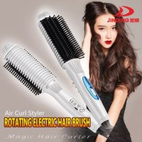 Wholesale New Electric Hair Curler - 2015 NEW Curler&straightener Tourmaline ceramic Hair Curling Irons Electric Hot Hair Brush Magic Curler