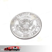 Wholesale Free Coin Tricks - magic tricks Free shippingCigarettes Through Coins(Half Dollar) King Magic toys wholesale magic props