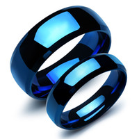 Wholesale Stainless Steel Ring Plain - Fashion Stainless Steel plain Rings for Lovers Blue color Plated Classic Couple Wedding Rings Women Jewelry